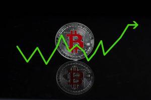 bitcoin y línea de gráfico