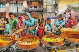 mujeres comprnado en un mercado colorido